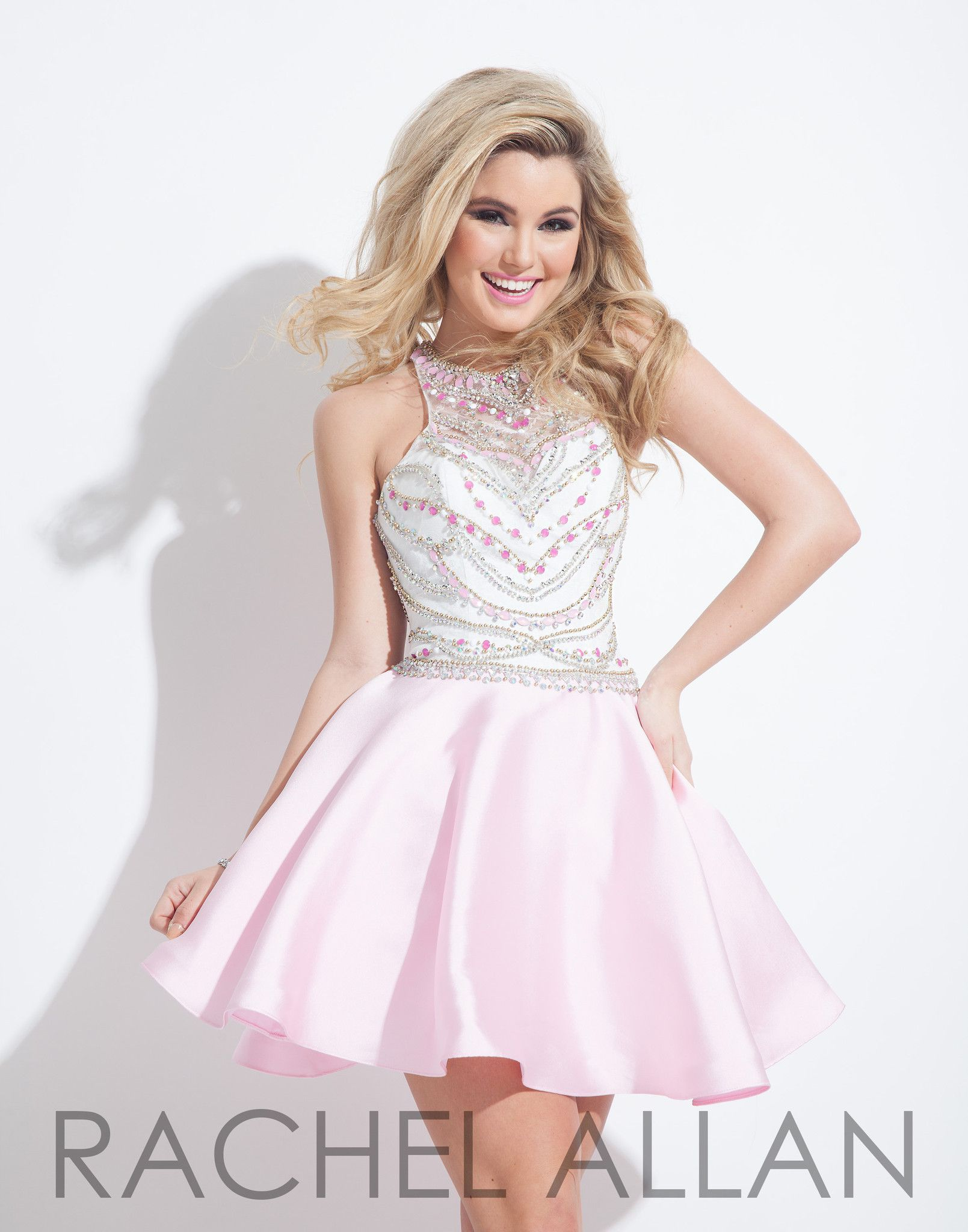 Rachel allan light pink homecoming dress homecoming