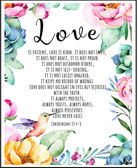 Love Is Patient Love Is Kind, Bible Verse, 1 Corinthians