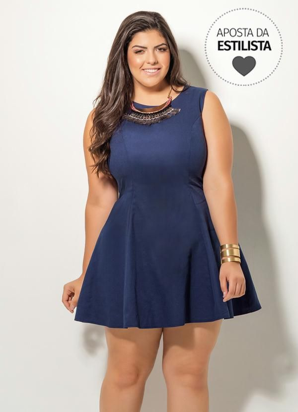 394b3e24f Vestido Evasê Marinho Quintess Plus Size - Posthaus | Modelos