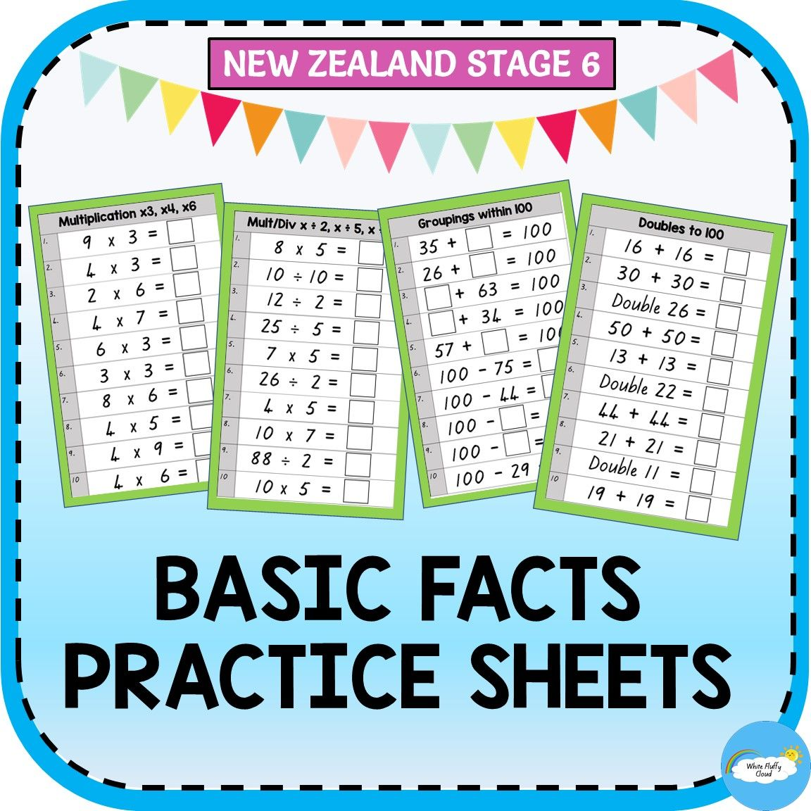 Basic Facts Practice Sheets Nz Stage 6 Basic Facts Practice Basic Facts Subtraction Facts