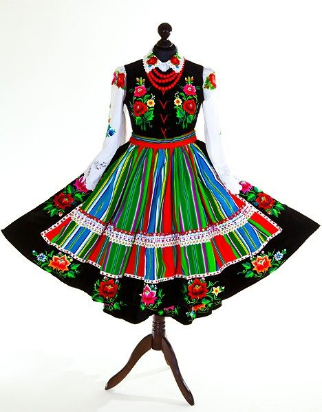 Stroj Ludowy Welniak Lowicki Damski Folk Clothing Traditional Outfits Polish Folk Art