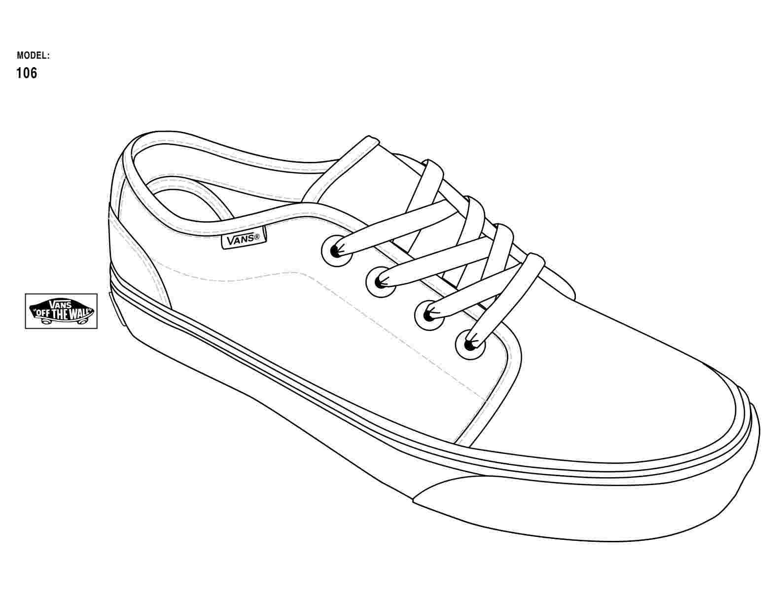 Coloring Pages Of Vans Shoes Shoe Template Sneaker Art Design Your Own Shoes