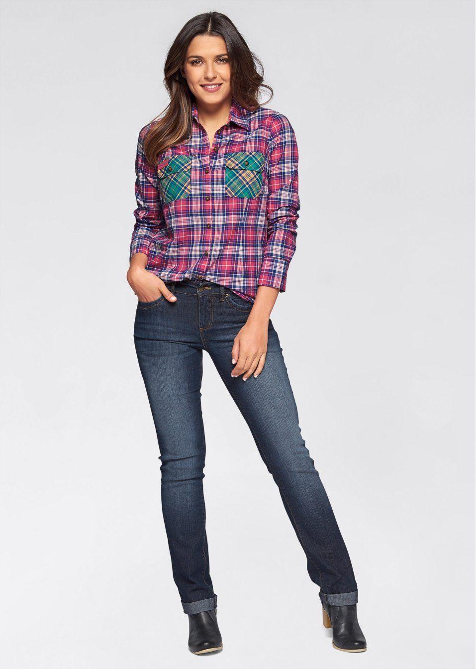 Bluzka W Krate Dlugi Rekaw Z 54 99 Zl Bonprix Womens Plaid Fashion Women S Plaid Shirt