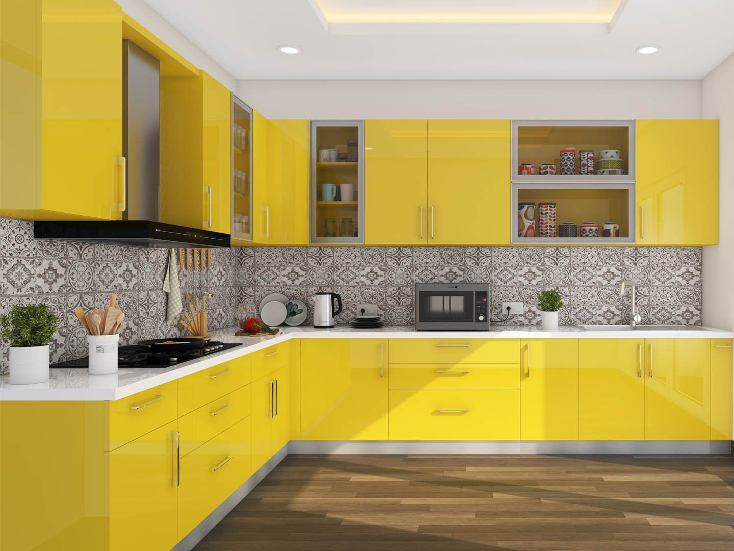 Passion Flower L Shaped Modular Kitchen India   HomeLane in 20 ...