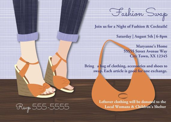 Clothing Exchange Invitations – Shoe Party Invitations