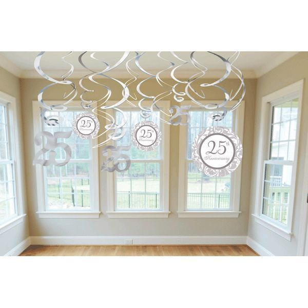 Fill the party room with silver when you hang swirls cutouts th anniversary decorations also ct rh pinterest
