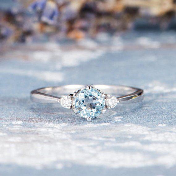 Aquamarine Engagement Ring White Gold Woman Three Stone Ring