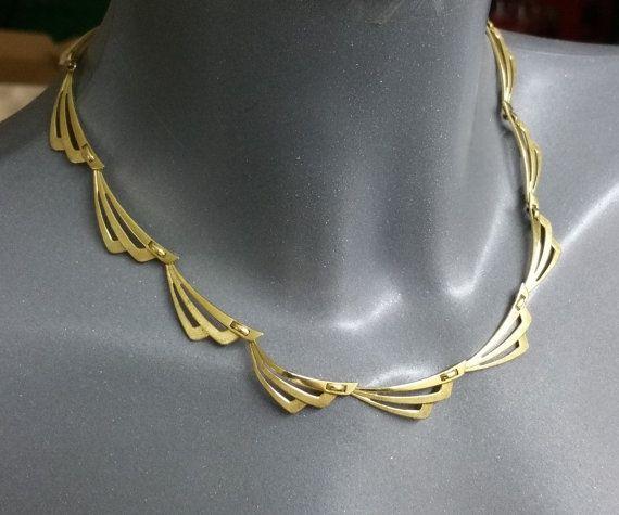 Vergoldetes Collier Kette 60iger Jahre MK117 von Schmuckbaron