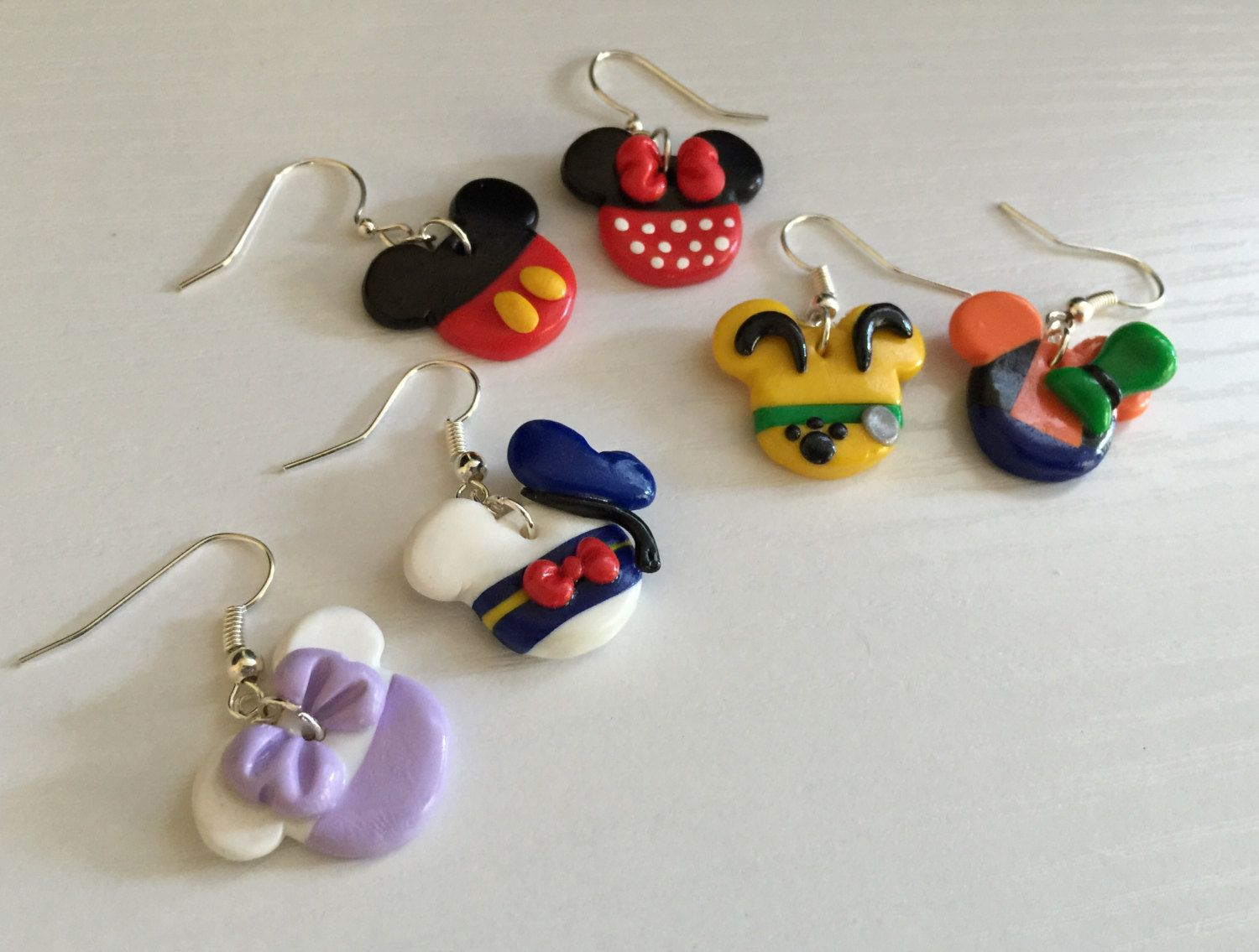 Disney's Mickey Mouse Clubhouse Dangle Earrings Handmade Mickey, Minnie,  Daisy, Donald,