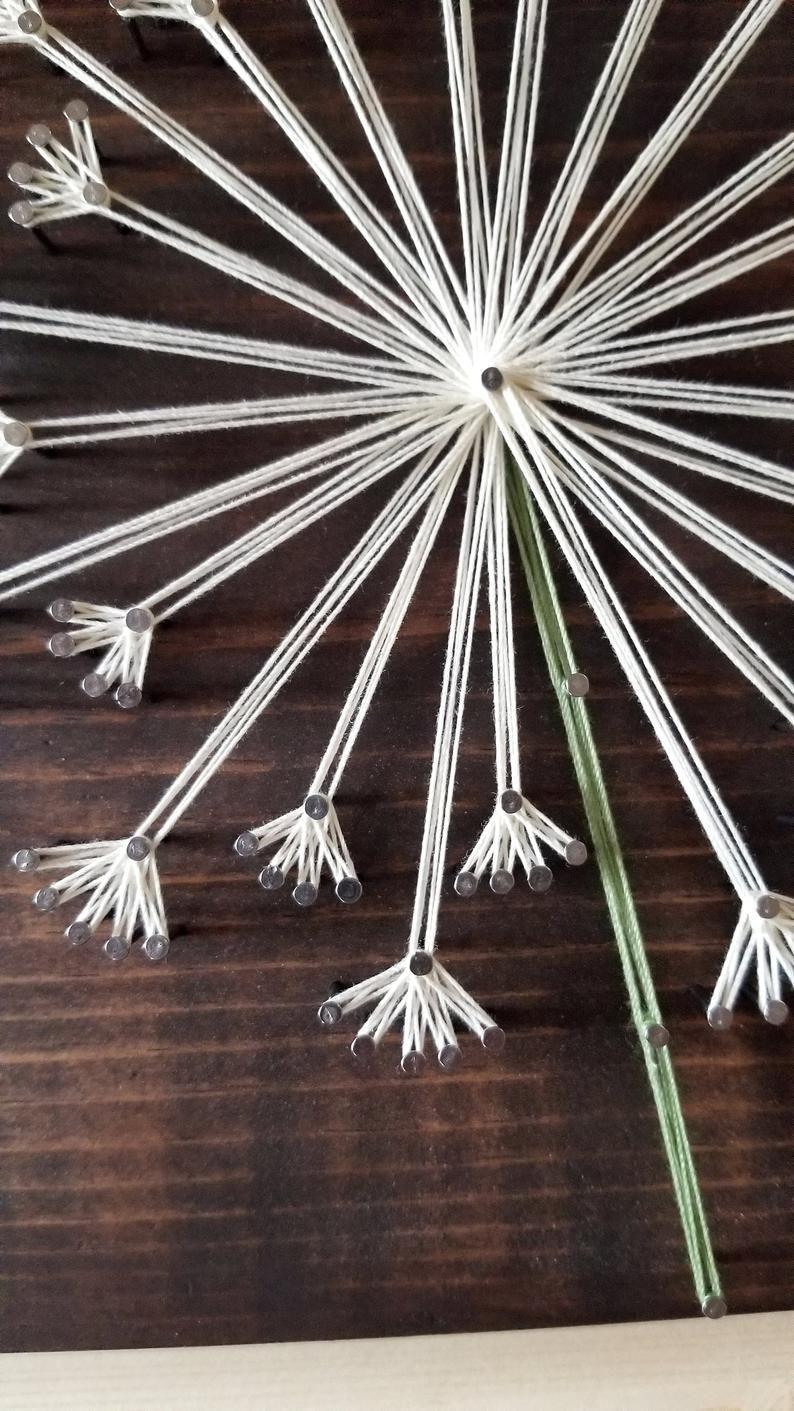 Löwenzahn String Art / Blume Dekor / Löwenzahn Zeichen / Blume Zeichen / Bauernhaus Dekor / Braut Dusche Geschenk / Housewarminggeschenk / Hochzeitsgeschenk