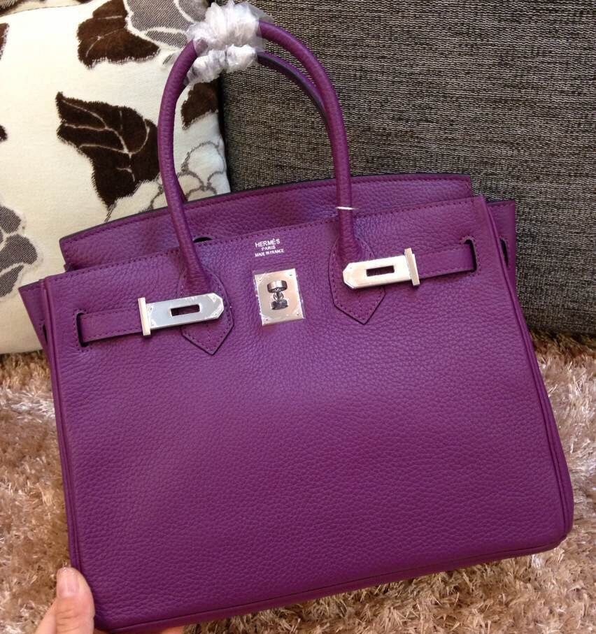 8b6d760be859 Hermes Togo Clafksin Birkin 30 Bag in Violet (Silver Hardware ...