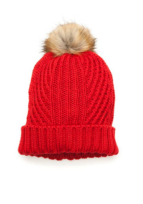 bfb09cfb6fb Crown   Ivy™ Solid Cable Knit Fur Pom Beanie