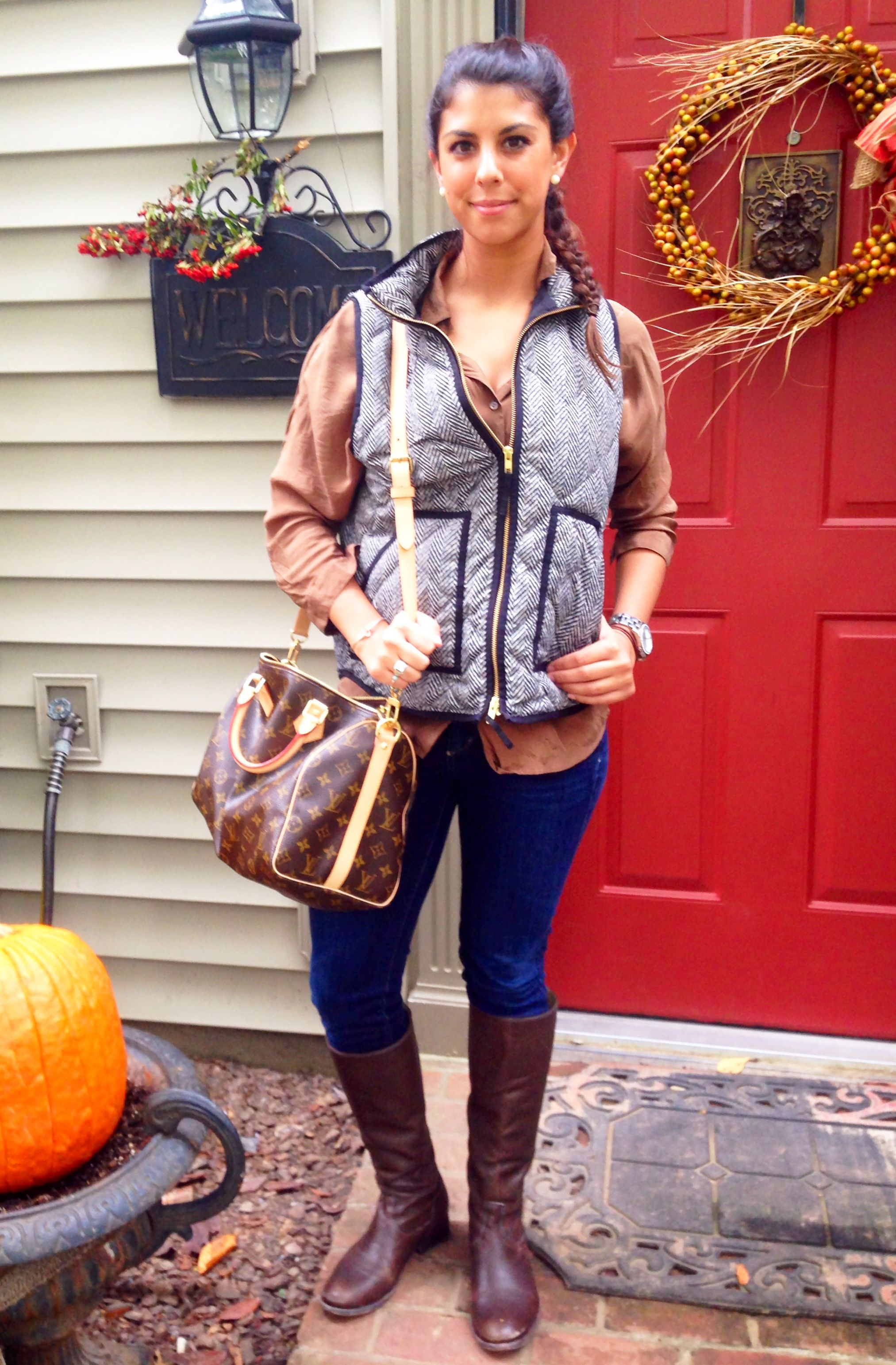 Fall style :) comfy herringbone j crew vest with skinnies and melissa frye boots