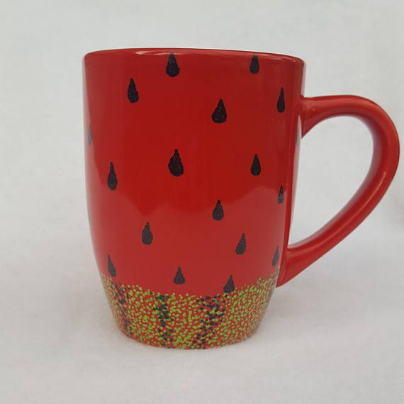 This is a hand painted, one of a kind 12 oz ceramic mug. The paint has been cured for added