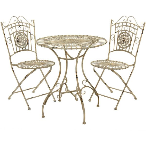 rustic metal garden table set distressed white 525 cad liked on polyvore