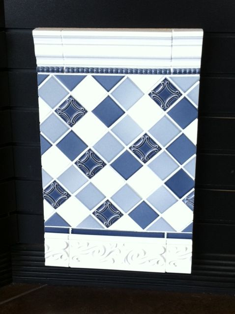 Blue Decorative Tile Border At Dimensions In And Stone