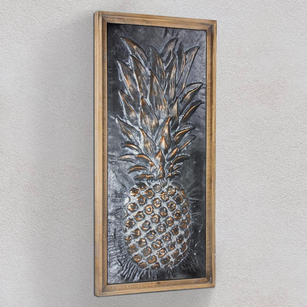 Crystal Art Gallery Metal Pineapple Framed Wall Art 160921web The Home Depot 3d Metal Wall Art Framed Wall Art Wall Plaques