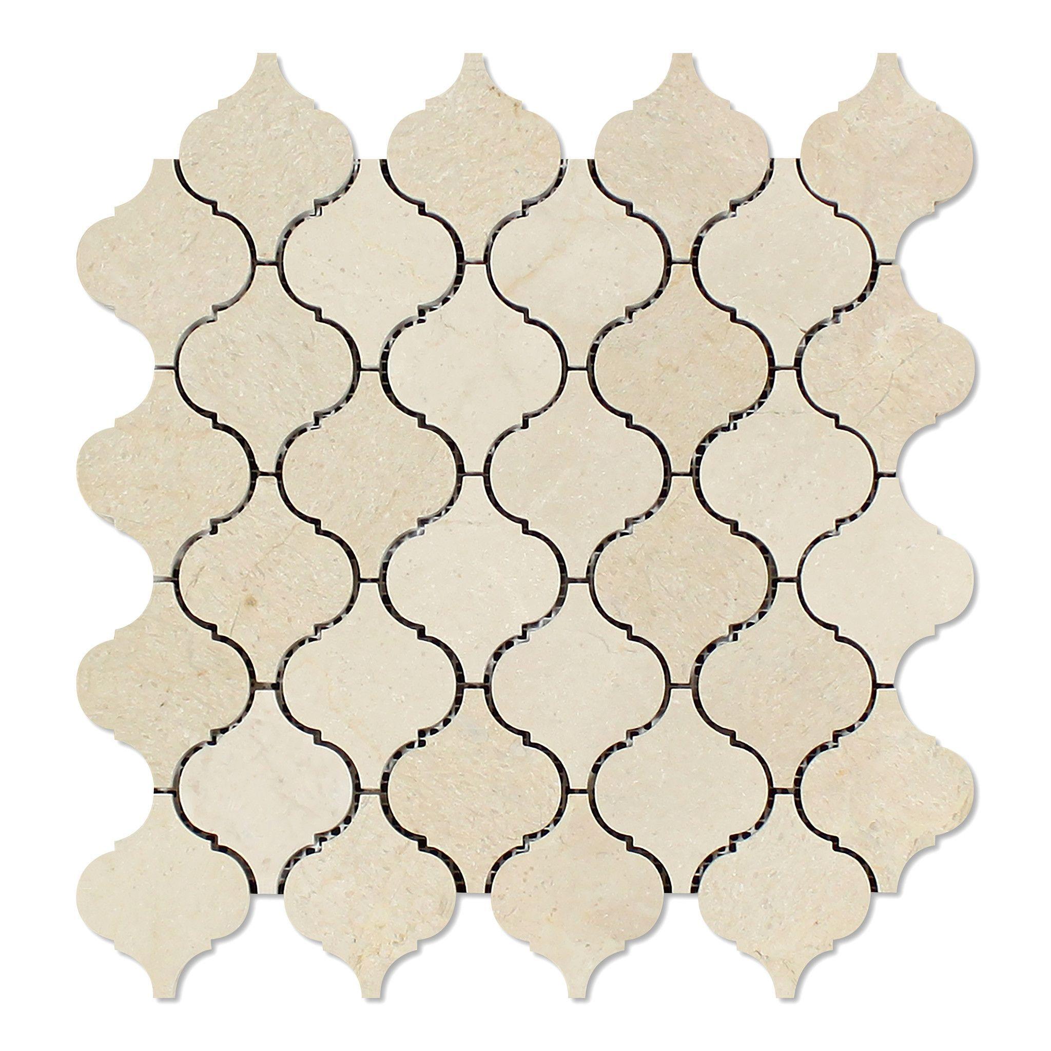 Crema Marfil Marble Polished Lantern Arabesque Mosaic Tile Arabesque Mosaic Tiles Mosaic Tiles Marble Polishing