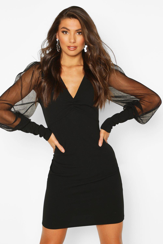 Tall Mesh Sleeve Bodycon Dress Boohoo In 2021 Bodycon Dress Bodycon Dress With Sleeves Black Bodycon Dress [ 1500 x 1000 Pixel ]