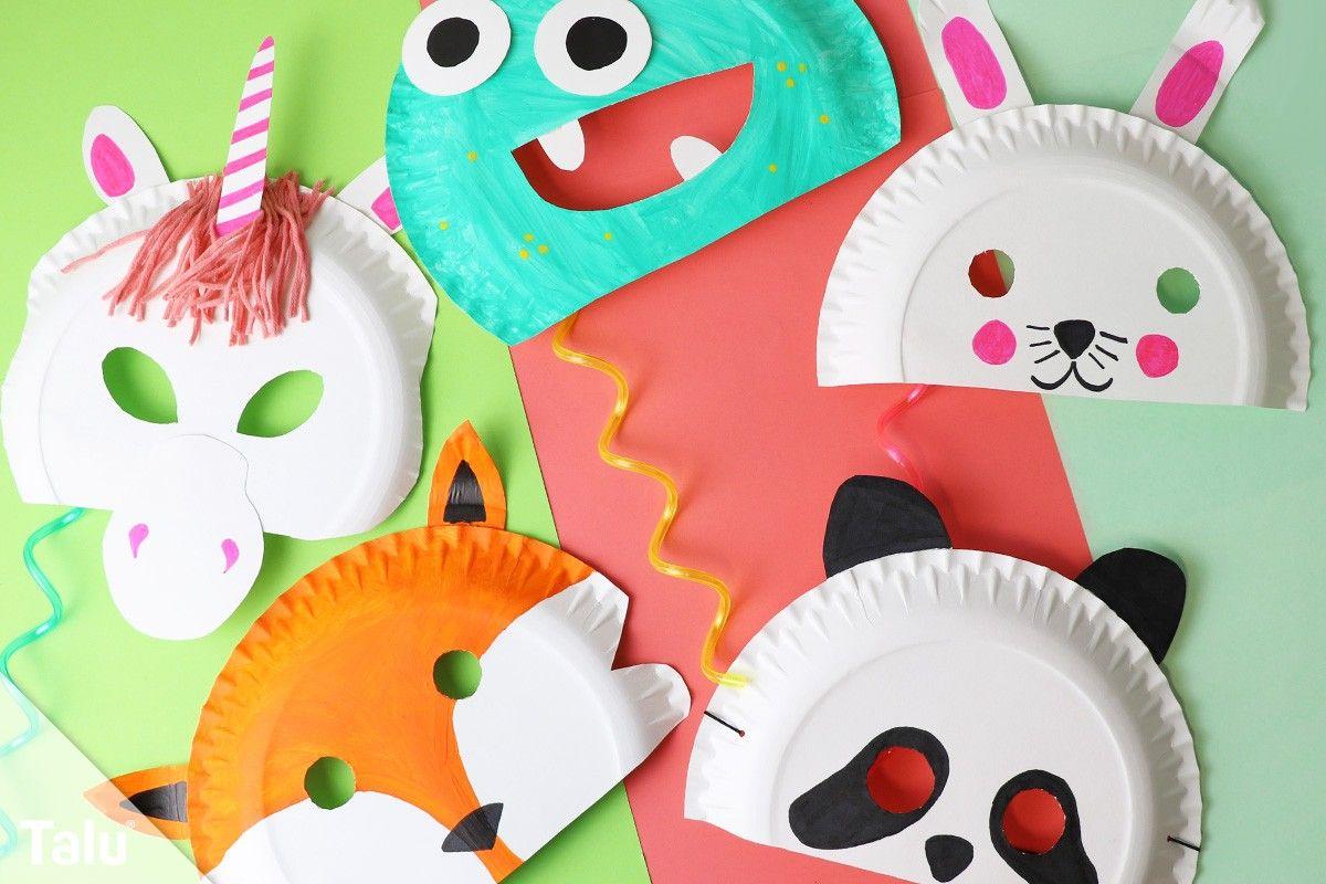 Faschingsmasken basteln / Anleitung – Kindermasken aus Pappteller – Talu.de