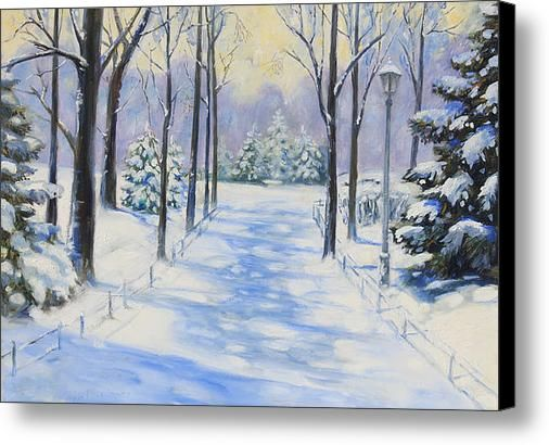 Winter In The Park Canvas Print / Canvas Art By Monika Pagenkopf