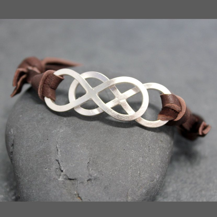 Double Infinity Adjustable Leather Bracelet For Men Double