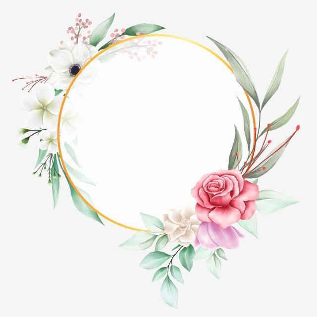 Beau Cadre Floral Avec Cercle D Or Et Fleurs A L Aquarelle
