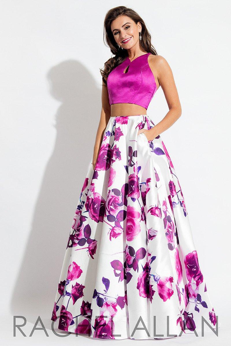 Rachel Allan 7583 Magenta Floral Prom Dress