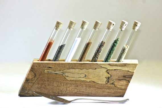 Test Tube Spice Rack Salvaged Live Edge Spalted Maple
