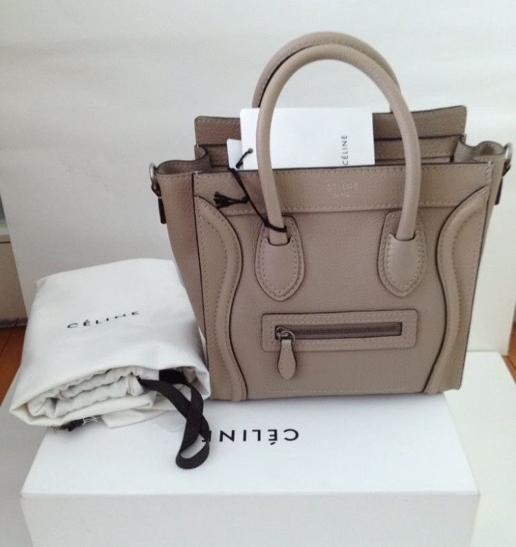 3320e155201c4a Celine Nano Nude Color Bag Celine Nano Luggage Tote in baby bull calf  leather with suede interior lining Celine Nano Leather Cross body Tote  Handbag is both ...