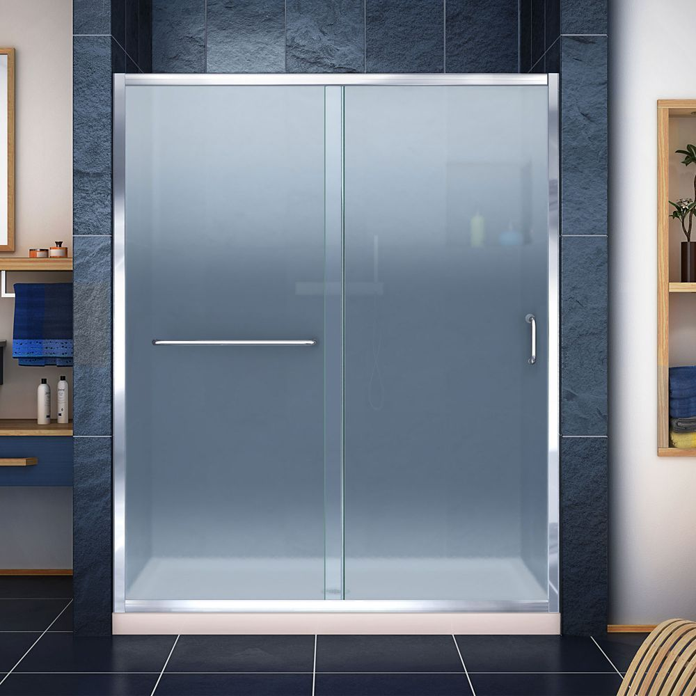 Infinityz inch d x inch w frosted shower door in chrome and
