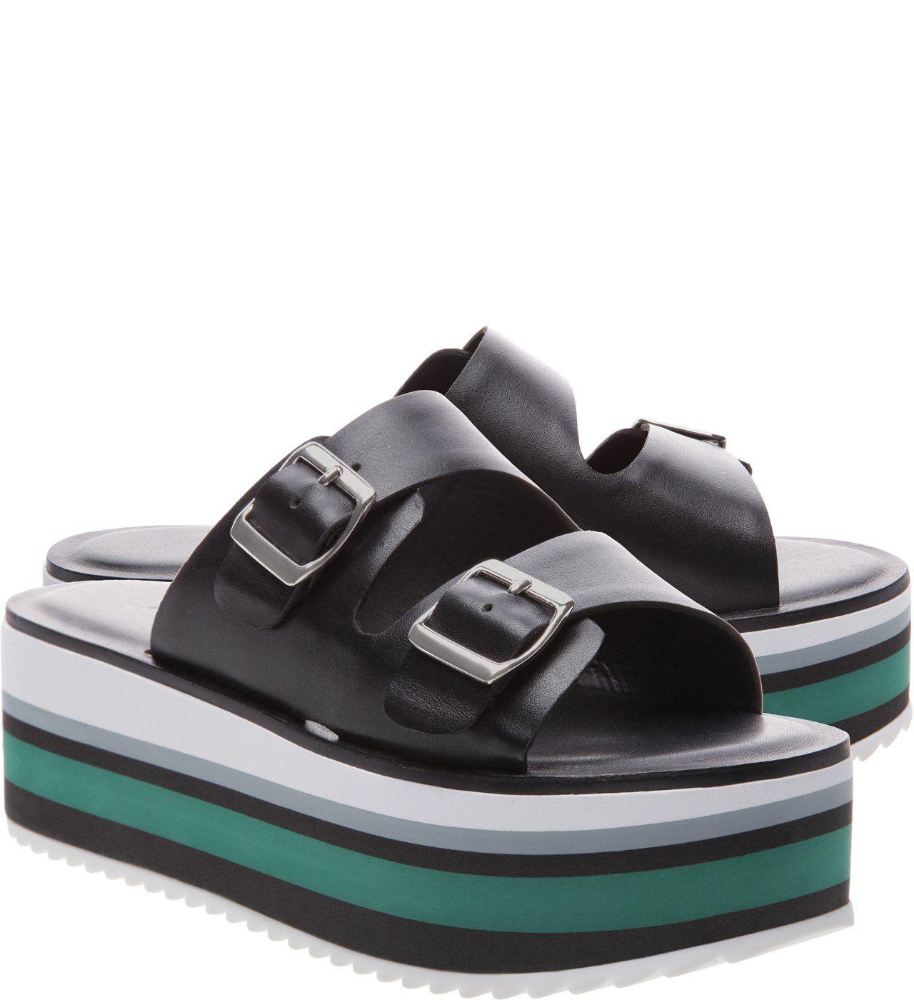 96632281e Chinelo Slider Couro Plataforma Médio Preto | Arezzo | Shoes em 2019