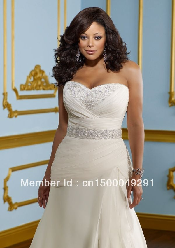 2017 Plus Size Wedding Dress A Line Sweetheart Mermaid Crystal Embellished Neckline Beaded Belt At The Natural Waist