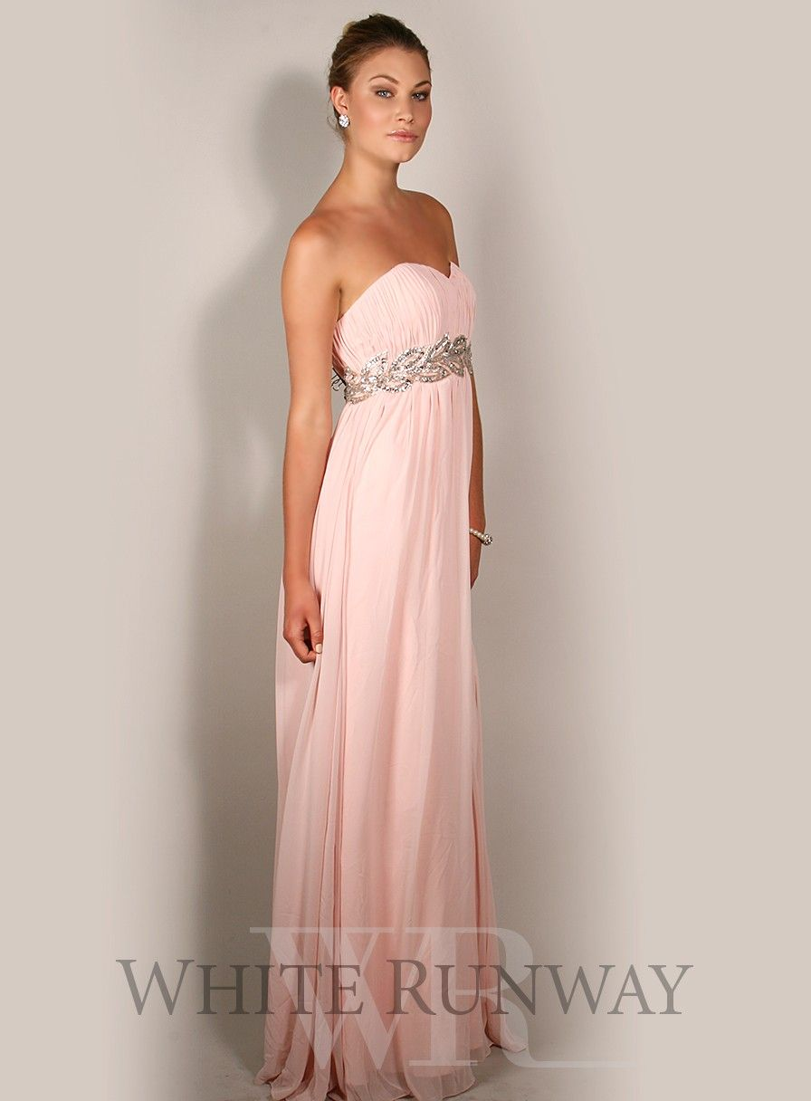 Grecian empire strapless sweetheart dress with grecian leaf motif a