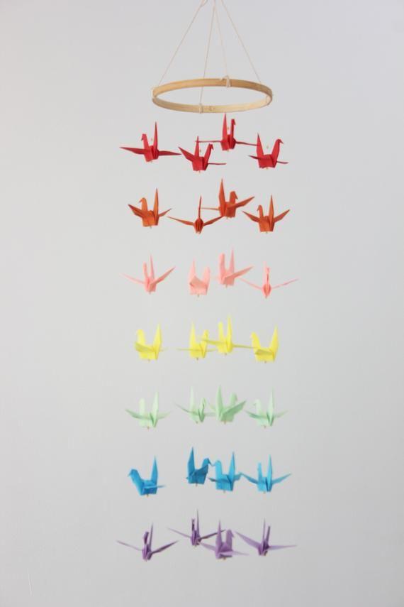Photo of Baby Krippe Mobile Origami Kran Multi Regenbogen Farbrad Mobile Origami Vogel Kinder Kinder Dekor Home Schlafzimmer Party Dekor Kindergarten