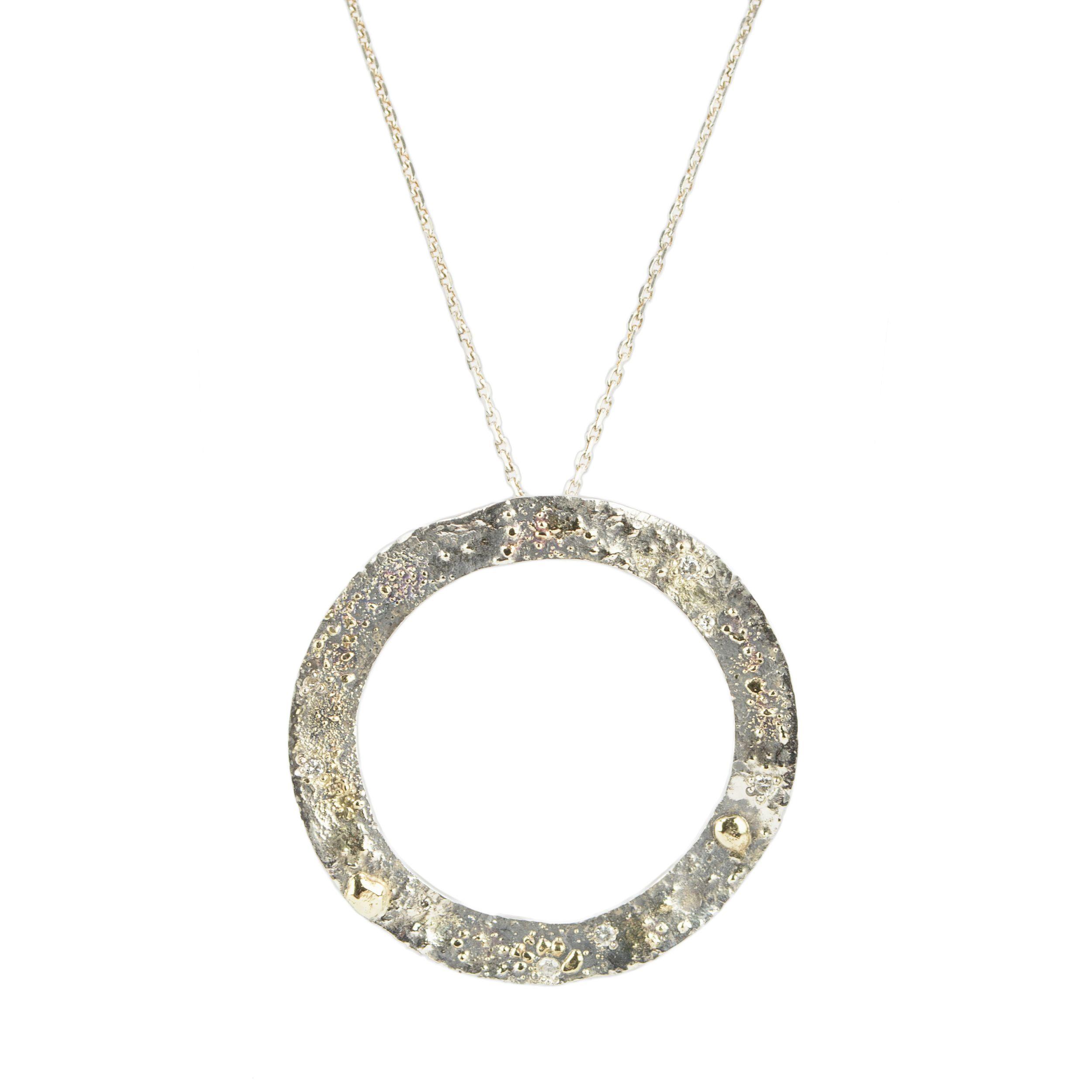 Gold Fusion Circle Pendant with Diamonds  http://www.rhoadsjewelry.com/online-store/gold-fusion-circle-pendant-with-diamonds