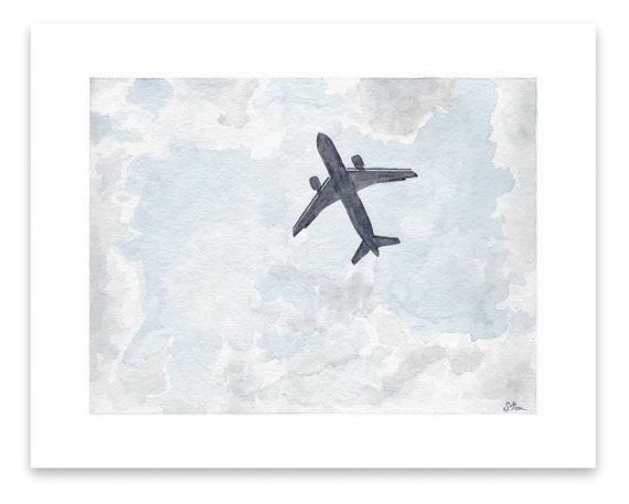 Watercolor Painting Print Plane Overhead Watercolor Paintings