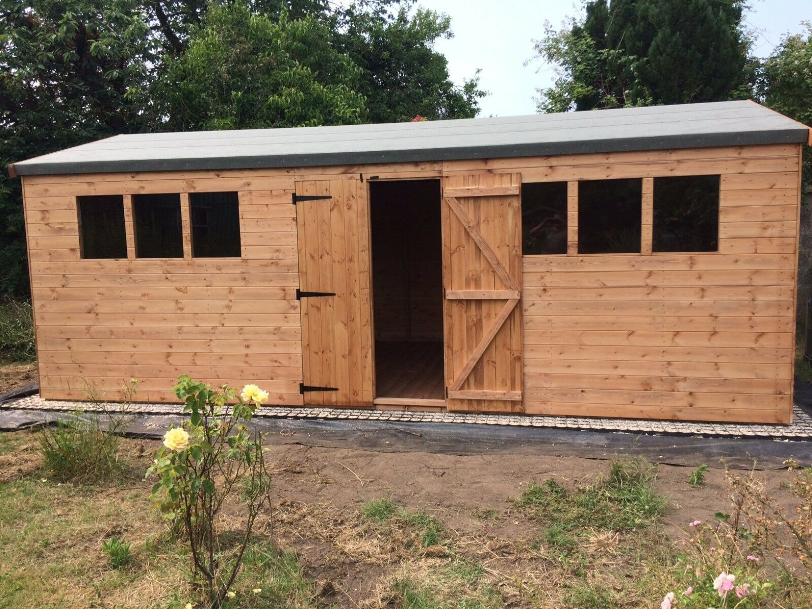 Wooden 18ft Timber Shed Workshop In Various Sizes With T G Cladding T G Floor 1 315 00 In 2020 Wooden Workshops Wooden Garage Wooden Sheds