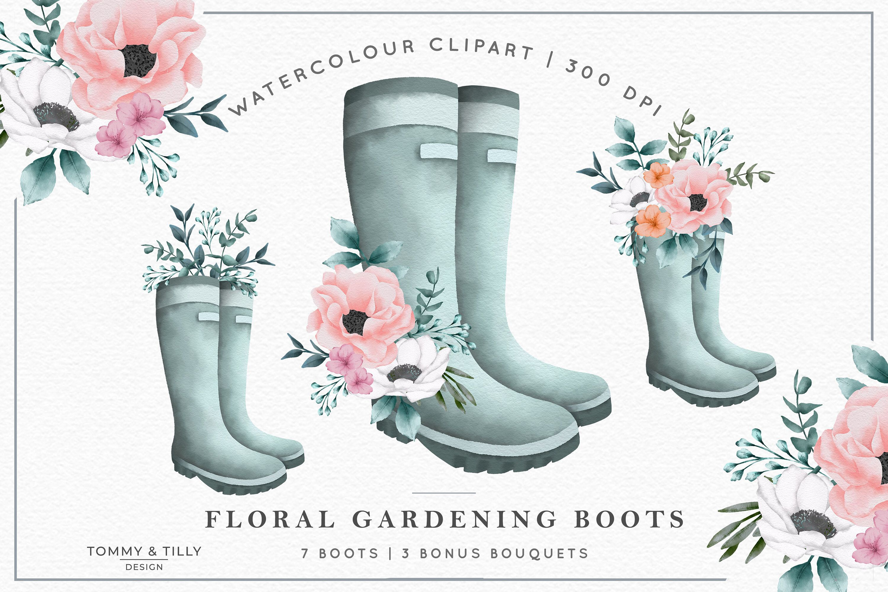Watercolour Floral Boots High Quality Clipart Png Wedding
