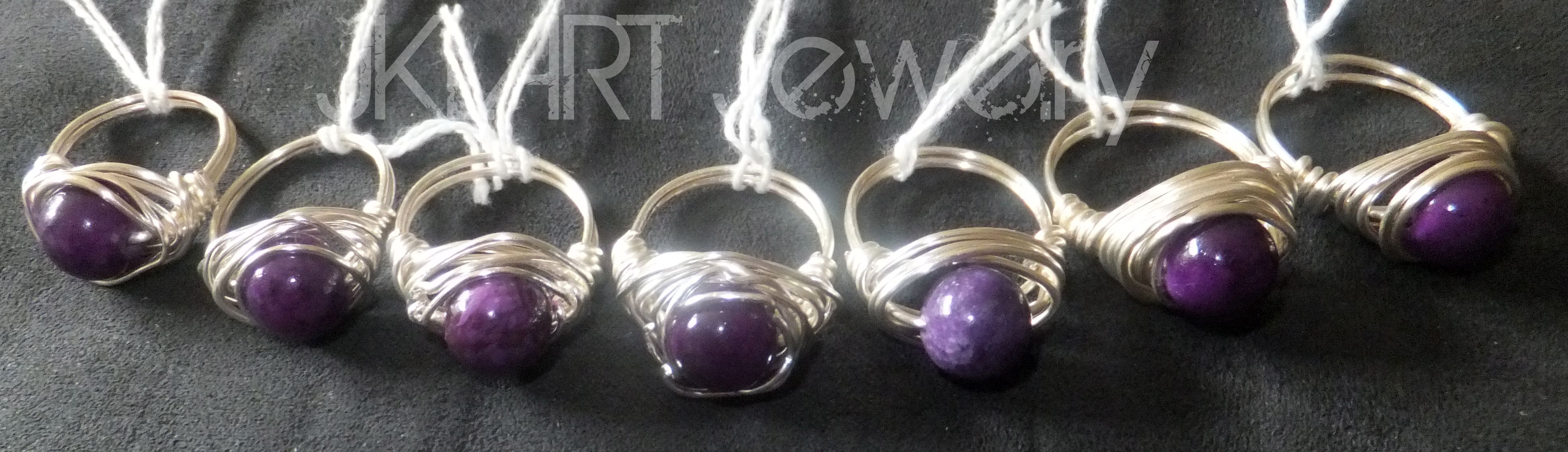 amethyst dyed quartzite wrapped in argentium (non-tarnishing) wire ...