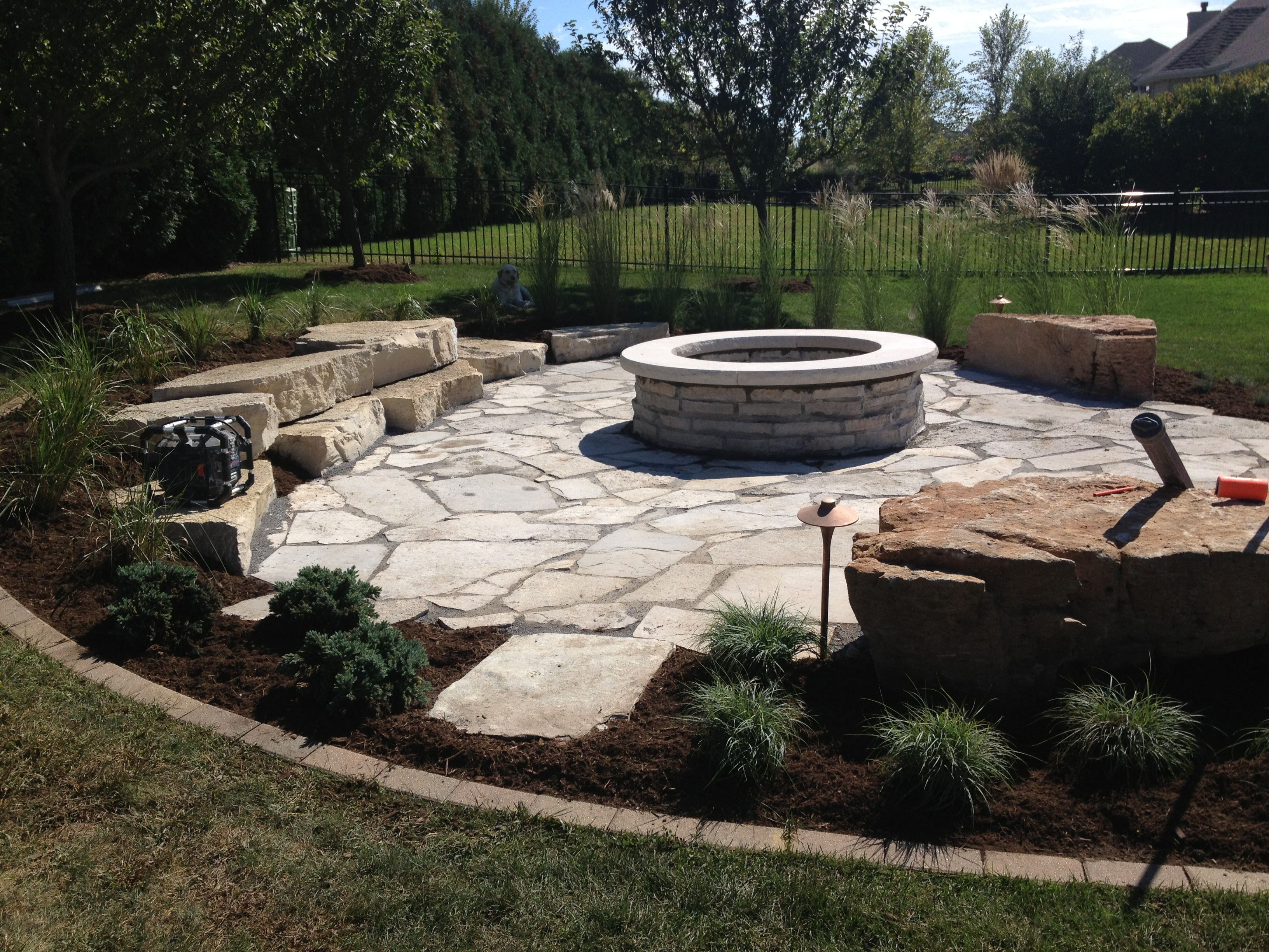 Rustic outdoor fire pit patio   Fire pit backyard ...