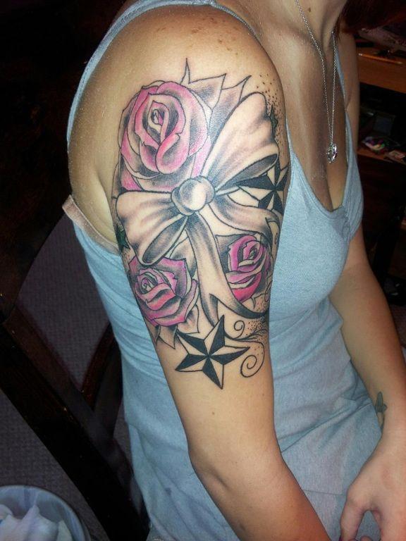 Rose Bow And Nautical Star Tattoo Beautiful Body Art Pinterest