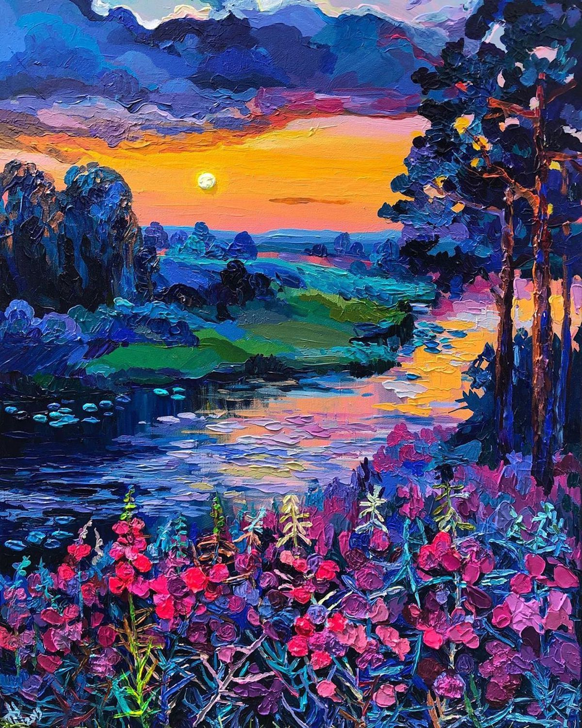 Brilliant Textured Paintings Capture European Countrysides In Kaleidoscopic Colors In 2020 Landscape Paintings Colorful Art Art Painting