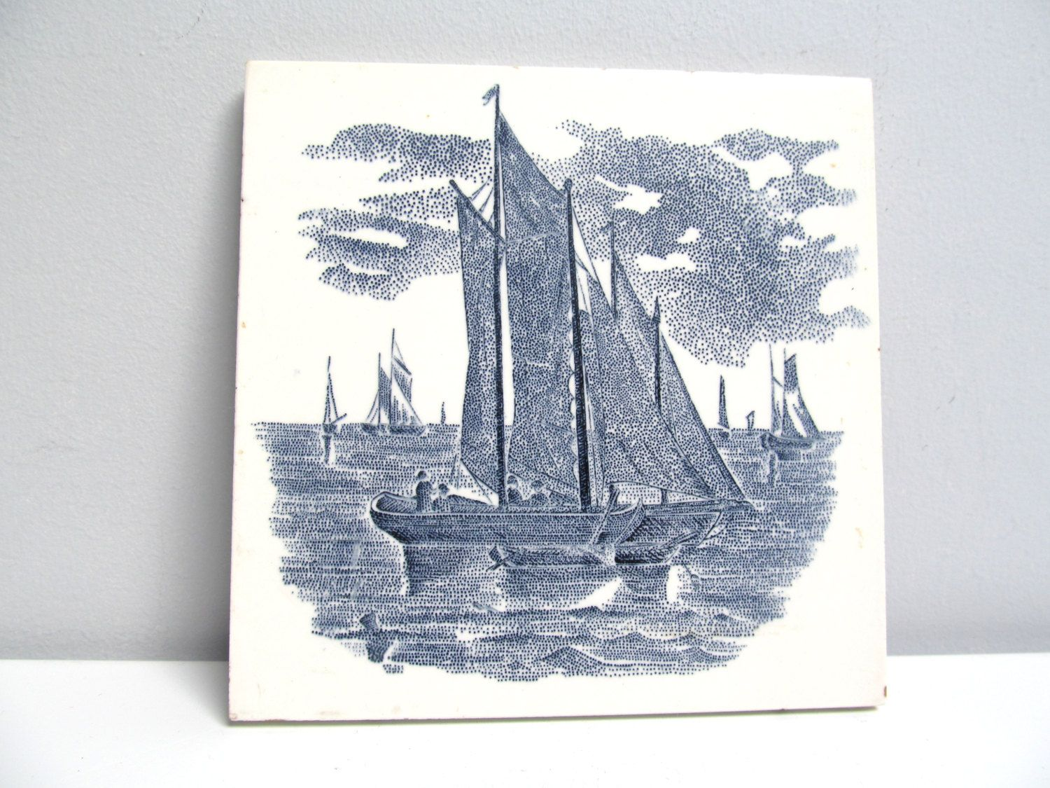 Vintage ceramic tile trivet delft blue dutch holland belgium vintage ceramic tile trivet delft blue dutch holland belgium pointillism boats sailing sea fireplace width 152 cm6 in dailygadgetfo Image collections