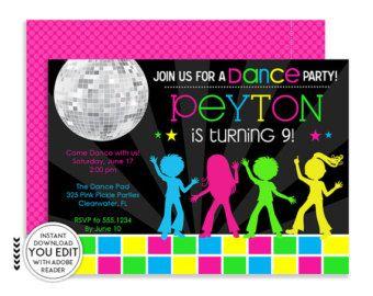 disco dance party birthday invitation dance birthday party invites