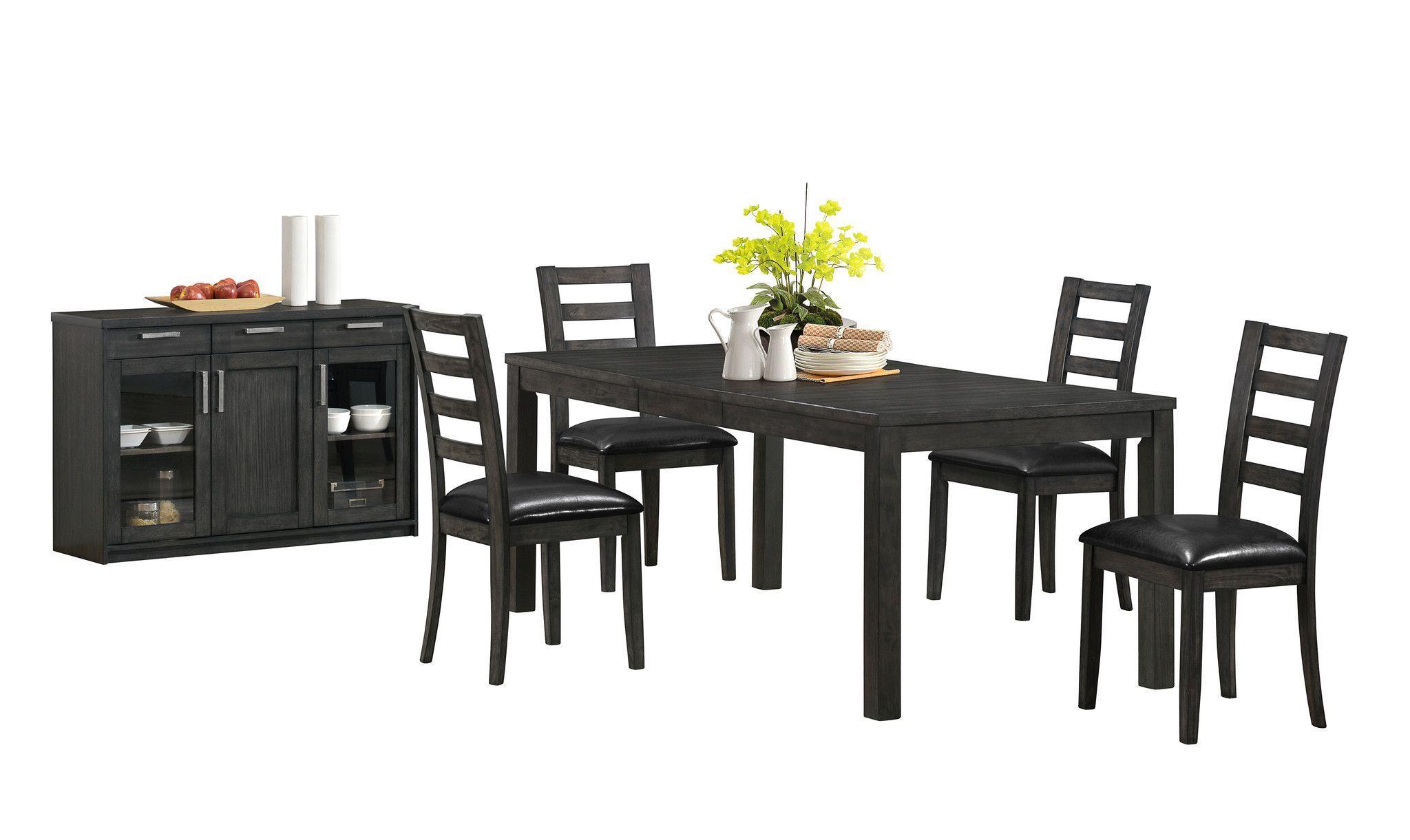 Charcoal Grey 38 X 60 X 78 Veneer Top Dining Table Dining Table With Leaf Casual Dining Table Table