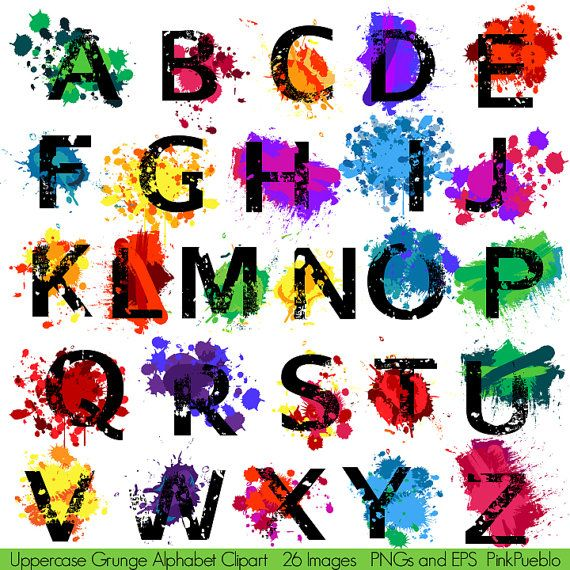 grunge alphabet font with graffiti paint splatters With painting alphabet letters