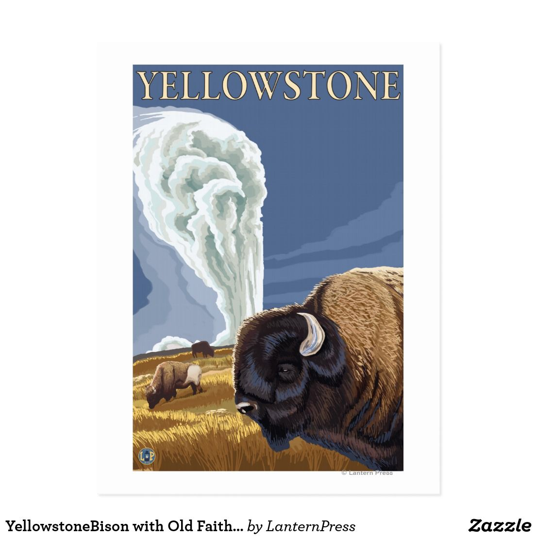 Yellowstonebison with old faithful postcard art pinterest old