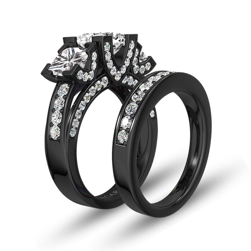 Black Three Stone Princess Cut Womens Wedding Ring Set With White Cubic Zirconia