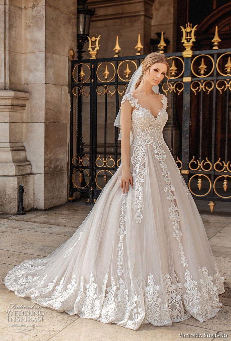 victoria soprano 2019 bridal cap sleeves v neck heavily embellished bodice  romantic princess a line wedding dress sheer button back chapel train (11)  mv ... a22a0b4fca4a